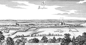 Merian copper engraving of Königslutter 1654: on the left town church and town, on the right Kaiserdom